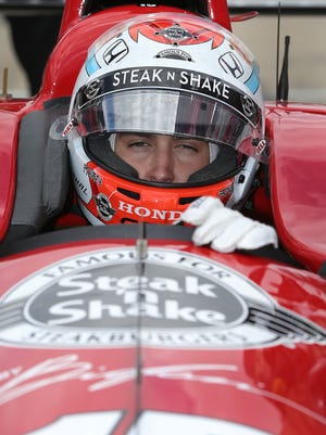 Steak 'n Shake is putting up more than $1 million to be the primary sponsor of an Indy car in five races this year, including the Indianapolis 500. Rahal Letterman Lanigan Racing's Graham Rahal (seen on May 12, 2015, at Indianapolis Motor Speedway) will drive the car.