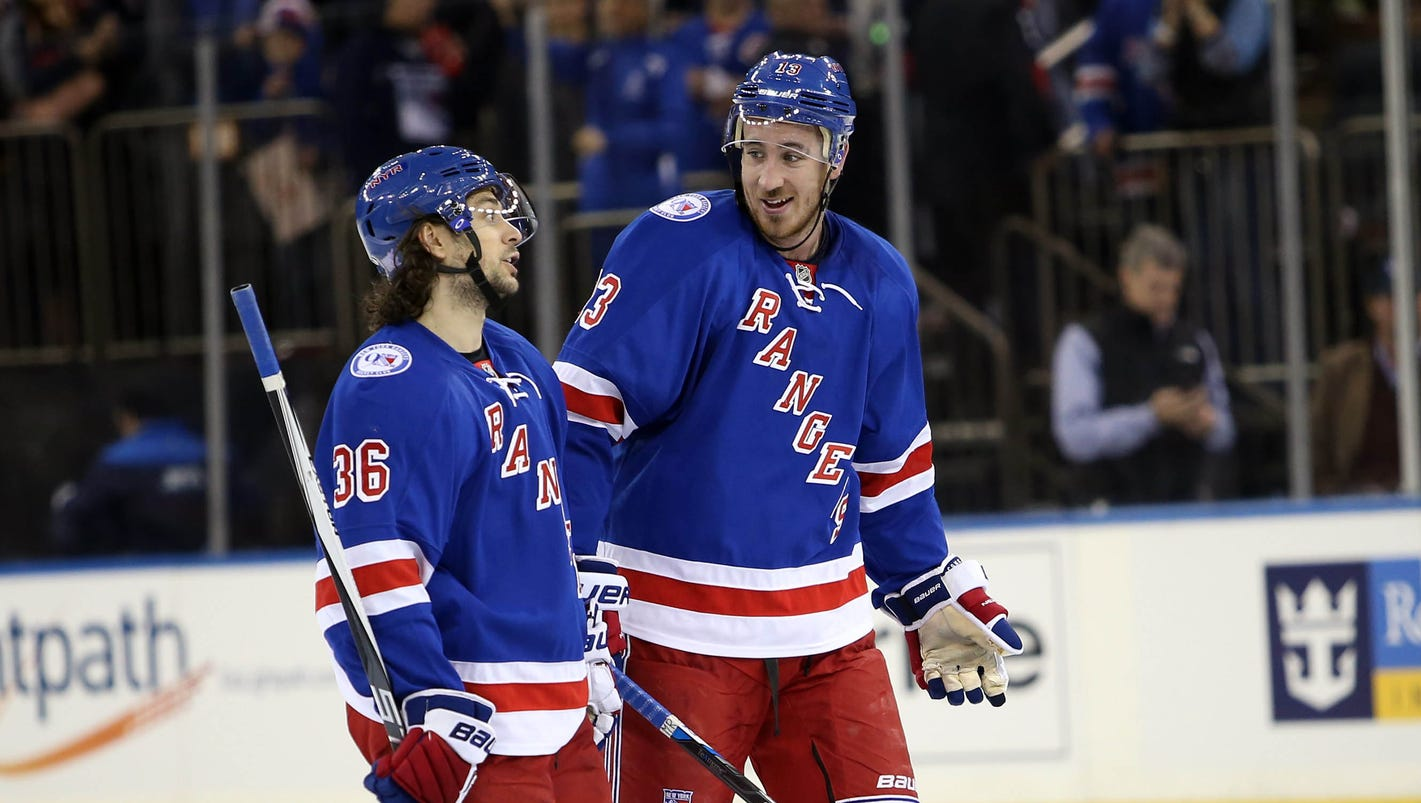 Rangers score at least five for fifth game in a row to ...