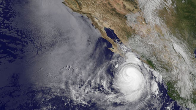 An image of Hurricane Norbert was taken from a weather satellite at 7:45 a.m. PDT on Sept. 5, 2014.