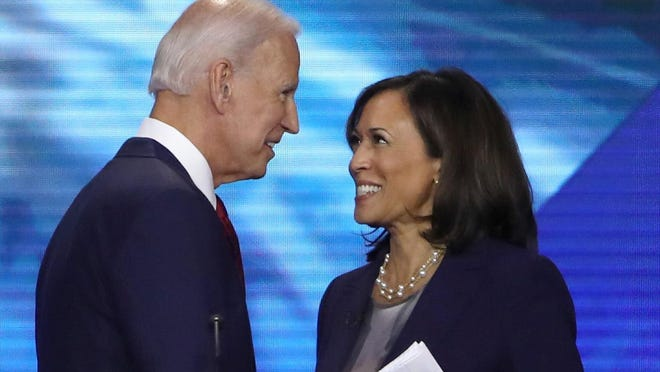 Former Vice President Joe Biden and Sen. Kamala Harris of California at the Democratic presidential debate in 2019 in Houston