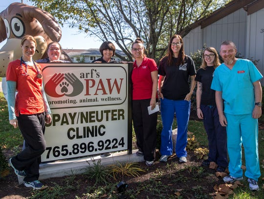 The staff of the Promoting Animal Wellness clinic along