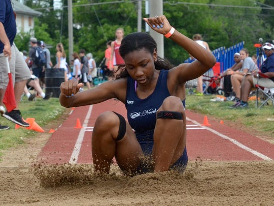 The Lady Eagles' Danielle Craft competes in the triple jump during the TSSAA State Track and Field Championships two weeks ago in Murfreesboro.