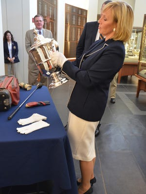Lt. Gov. is on hand for a PGA Tour announcement today. In July, she visited the United States Golf Association Museum in Far Hills. (Governor's Office photo)