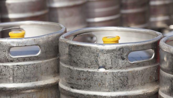 Aluminium  beer kegs.