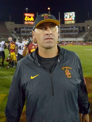 Southern California Trojans coach Steve Sarkisian reacts after a 17-12 loss to the the Washington Huskies at Los Angeles Memorial Coliseum.