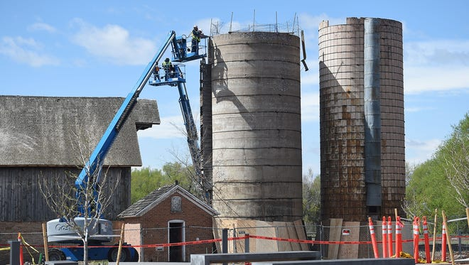 Demolition of the silos on the Woodward campus begins on Wednesday, April 27, 2016.
