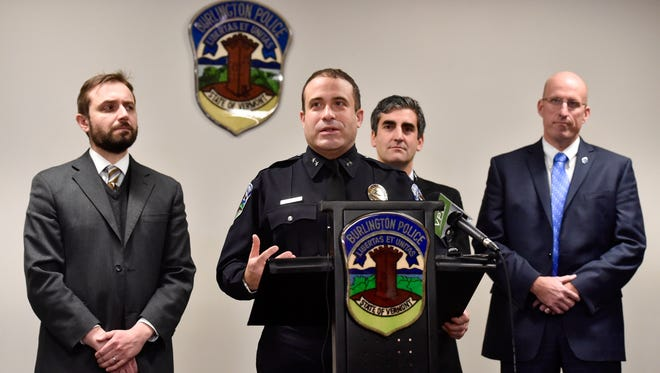 Burlington Police Chief Brandon del Pozo speaks on Wednesday, December 30, 2015, at a news conference to discuss the arrest of Chavis Murphy in Sunday's fatal shooting of Obafemi Adedapo.