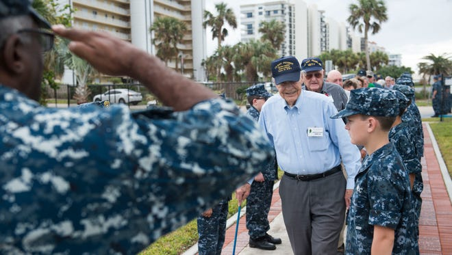 """""""Those kids out there, that was good. It was nice to see them,"""" said World War II Navy UDT 15 veteran Arne Kvaalen, of West Lafeyette, Indiana, after he was greeted by a group of Naval Sea Cadets from six Florida battalions Friday, Nov. 3, 2017, at the National Navy UDT-SEAL Museum on North Hutchinson Island near Fort Pierce. The celebration of the exhibit preludes the museum's 32nd annual Muster and Music Festival, which includes a 5K race, demonstrations and a keynote address."""