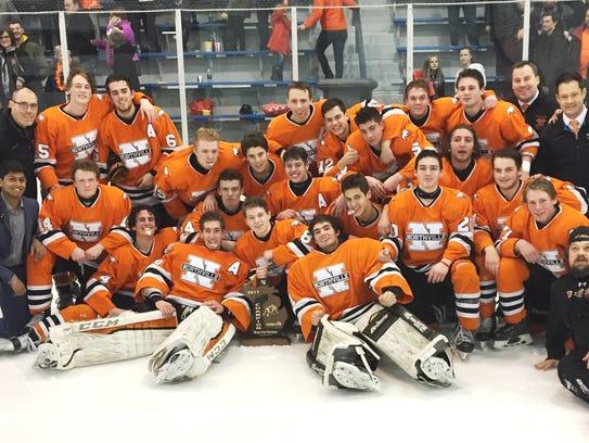 Northville celebrates its first regional boys hockey