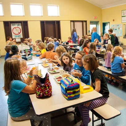 Children in the lunch room at Richmond Elementary school last year.