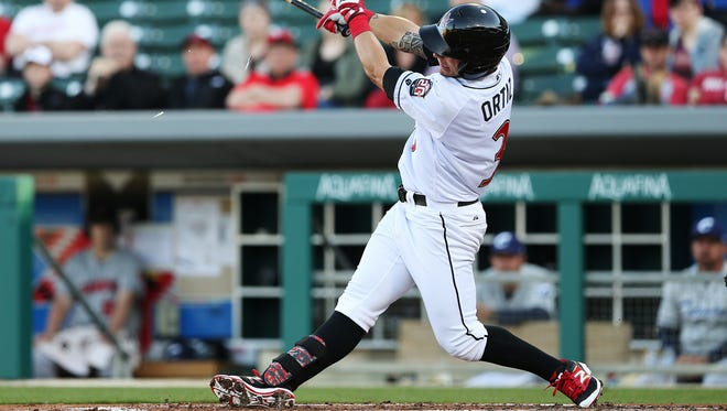 The Indianapolis Indians'  Danny Ortiz homered for the Tribe in their 11-7 loss Saturday.