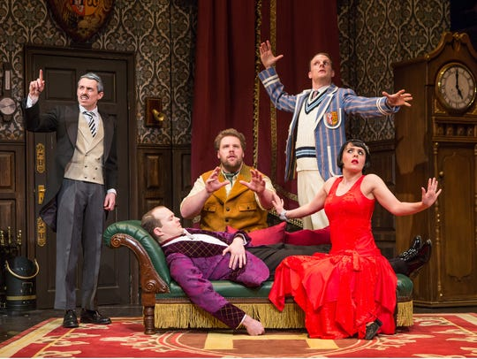 "The hilarious cast of ""The Play That Goes Wrong."""