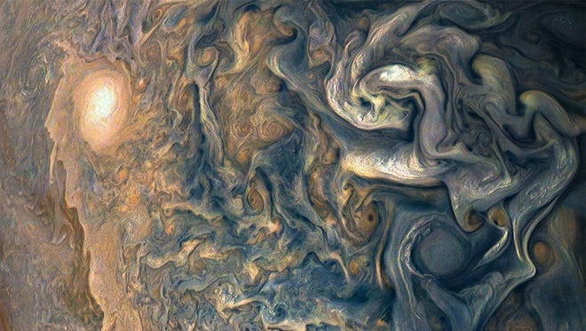 The Juno spacecraft captured this image of clouds above Jupiter on Dec. 16, 2017.