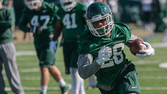 Freshman running back Madre London will make his first public appearance for Michigan State at Saturday's spring game.