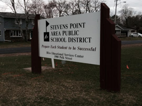 Stevens Point Area Public School District sign at the Bliss Educational Services Center on Polk Street.