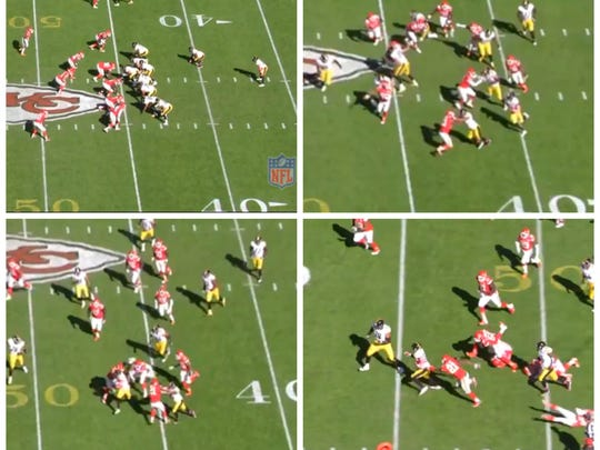 Steelers at Chiefs. Counter left, Bell for 42 yards
