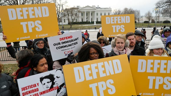 CASA de Maryland, an immigration advocacy and assistance organization, holds a rally in Lafayette Park, across from the White House in Washington on Jan. 8, 2018, in reaction to the announcement regarding Temporary Protective Status for people from El Salvador. The Trump administration is ending special protections for Salvadoran immigrants, forcing nearly 200,000 to leave the U.S. by September 2019 or face deportation. El Salvador is the fourth country whose citizens have lost Temporary Protected Status under President Donald Trump, and they have been, by far, the largest beneficiaries of the program, which provides humanitarian relief for foreigners whose countries are hit with natural disasters or other strife.