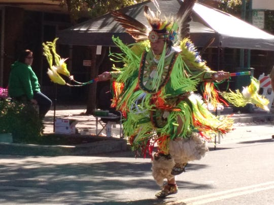 A dancer performs at the Shasta County Historical Society's Indigenous People's Day celebration on Oct. 22, 2016.