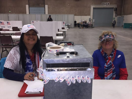 Tracy Laplant and Doris Pruys work at the Cascade County