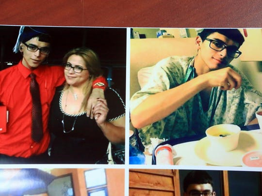 Photos of Josiah Christian Cantu with his mother (left) Marina Garcia and a photo of Cantu recovering at the hospital are displayed on April 11, 2017, in Corpus Christi. Cantu died from a gun shot wound in the stomach last year. Corpus Christi Police initially said Cantu shot himself, but a year later Nueces County District Attorney Mark Gonzalez is seeking a criminal indictment against a friend.