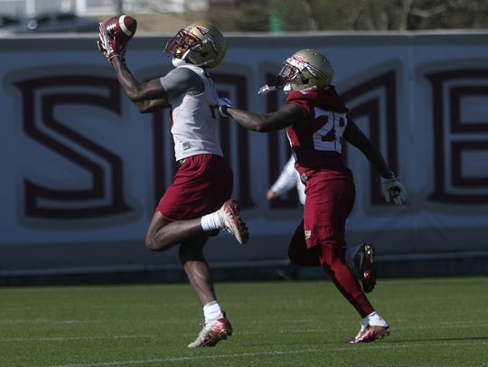 FSU's Tamorrion Terry catches a pass over Levonta Taylor