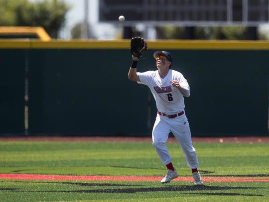Veterans Memorial's Jeffrey Boggess catches a ball