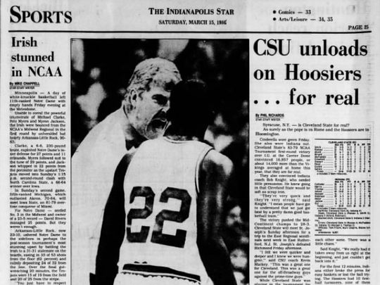 IndyStar sports coverage of Cleveland State's upset win over IU.