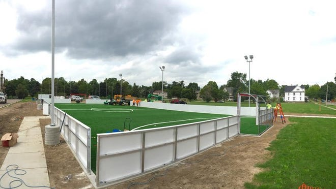 This community-owned, free-play soccer field in Ferris Park is expected to be open by Labor Day. This is a photo of the park's construction that was posted Wednesday on the field's Facebook page.