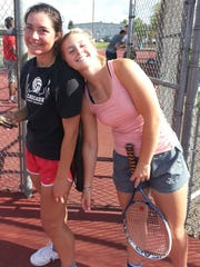 Cascade tennis players JaJa Osuna (left) and Tori Lewis placed second in state as a doubles team.