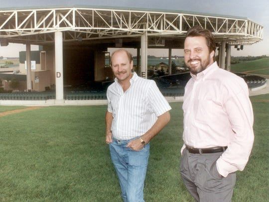 Sunshine Promotions owners Steve Sybesma,  left, and Dave Lucas pose at Klipsch Music Center in 1991.