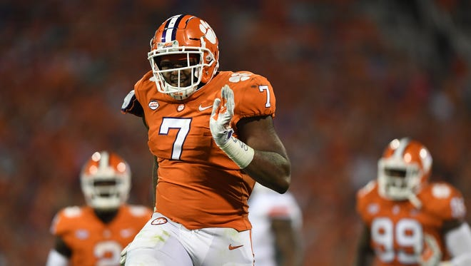 Clemson defensive lineman Austin Bryant (7) reacts after a defensive stop against Auburn during the 1st quarter on Saturday, September 9, 2017 at Clemson's Memorial Stadium.