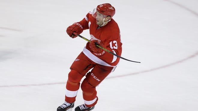 Detroit Red Wings center Pavel Datsyuk skates against the Florida Panthers on Nov. 29, 2015, in Detroit.