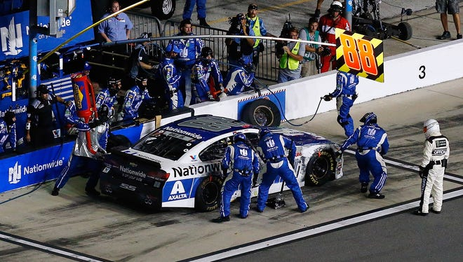 Dale Earnhardt Jr. pits during Saturday night's Coke Zero 400 at Daytona International Speedway.