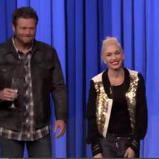 """The Tonight Show"" host Jimmy Fallon (right) played a round of ""Lip Sync Battle"" this week with Gwen Stefani and Blake Shelton from ""The Voice."""
