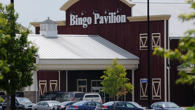 Law enforcement vehicles are seen near the entrance to the Bingo Pavilion at Center Stage in this file photo.
