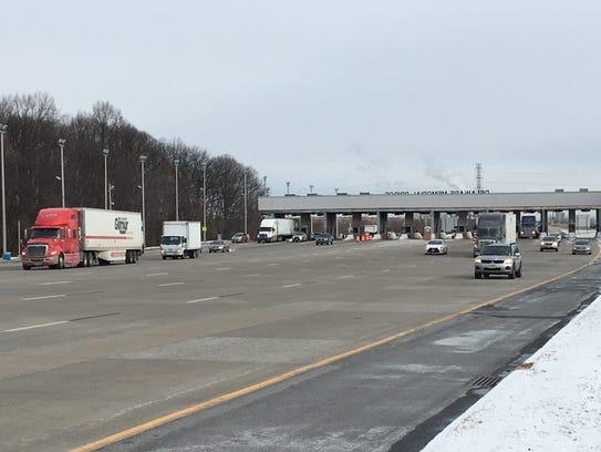 Vehicles on Monday pass through the DRBA toll plaza