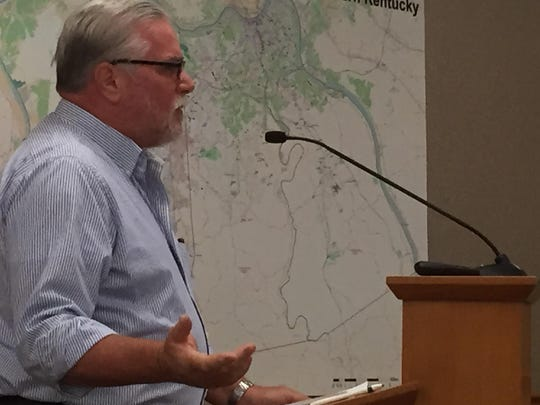 Speaking on behalf of 26 Camp Springs households, spokesman Tony Vogel gives a 10-minute presentation to the board about why he believes the sewer project threatens rural lands.