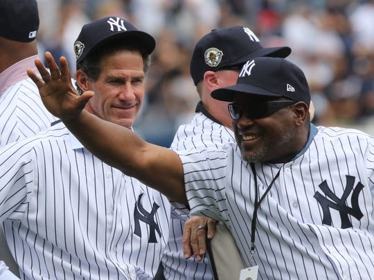 Yankee outfielders Paul O'Neill and Tim Raines are