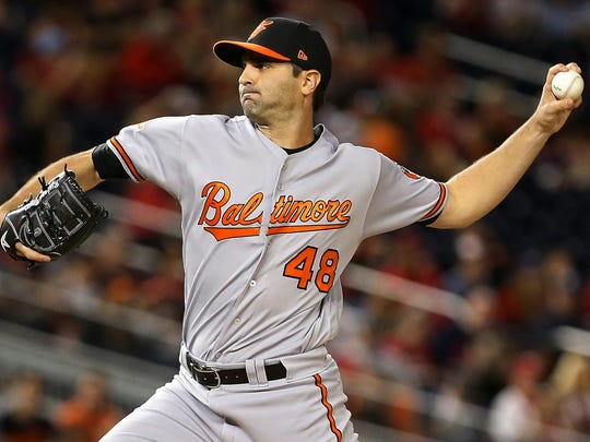 Baltimore Orioles relief pitcher Richard Bleier pitches against the Washington Nationals at Nationals Park.