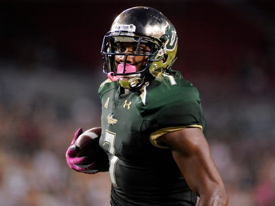 South Florida wide receiver Andre Davis scores against East Carolina on Oct. 11.