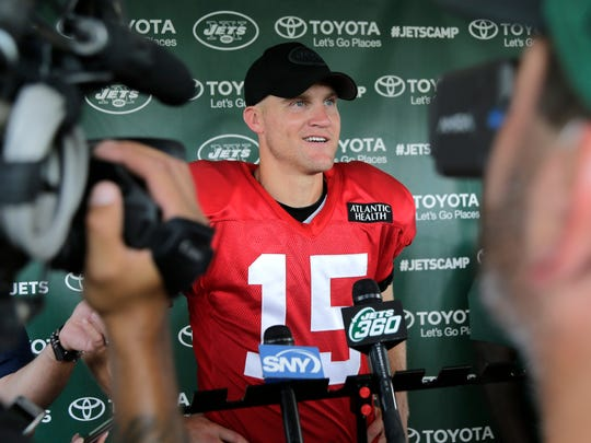 New York Jets quarterback Josh McCown talks to reporters after a practice at the NFL football team's training camp in Florham Park, N.J., Sunday, July 29, 2018. (AP Photo/Seth Wenig)