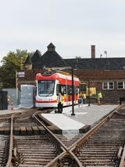 One of the QLINE streetcars that will hit the streets in late Spring of next year  is undergoing tests Tuesday, Oct. 11, 2016 at the Penske Tech Center at 7520 Woodward in Detroit.