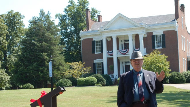 State Historian Carroll Van West speaks to guests at the 2013 dedication of a Civil War Trail marker at the Hazel Path Mansion.