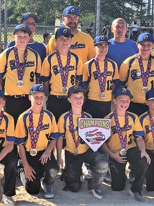 Oconto Bayshore Bombers won the championship in the gold division at the Wisconsin Dells Summer Slugfest July 6-8. Amazing teamwork and effort, said coach Jason Martin, allowed the 12U boys to go undefeated over Ridge/Beverly Celtics (18-0), Pekin Boys Club Baseball (10-4), Outsiders (14-6), and No. 1 seed House of Sportz (6-3). There were 15 teams in the 12U age bracket, and Oconto went into the upper division after winning its first two games. Bottom row: Devon Bostwick, Jackson Martin, Ethan Wusterbarth, Will Mlnarik, Cooper Campshure.  Top row: Levi Beirl, Kyle Bowman, Tegan Werner, Conner Christensen.  Coaches: Frank Bowman, Jason Martin, Jack Mlnarik.