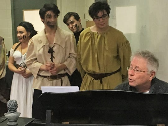 """Tony-, Oscar- and Grammy-winning composer Alan Menken took in Archbishop Stepinac's production of """"The Hunchback of Notre Dame"""" on Sunday, then serenaded the company with a medley of his songs."""