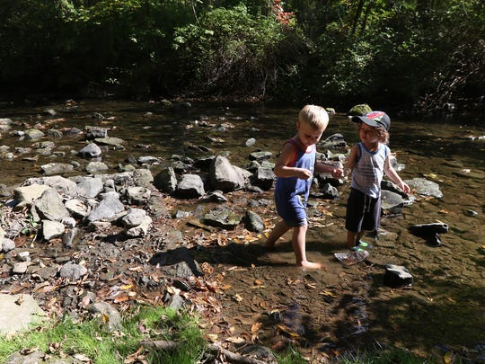 Cousins Chase Goodwin, 3, of Brockport and Tyler Lovetro,3, of Irondequoit check out leaves and throw rocks in the water at Corbett's Glen Nature Park.  They were playing near their parents who were finishing up their lunch.