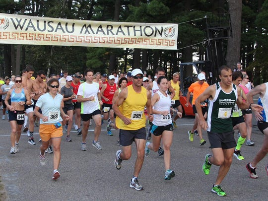 Runners start the Wausau Marathon in 2012.