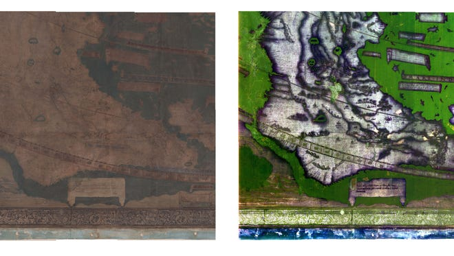 Photos of southern Africa on Martellus map before (left) and after imaging science techniques were applied