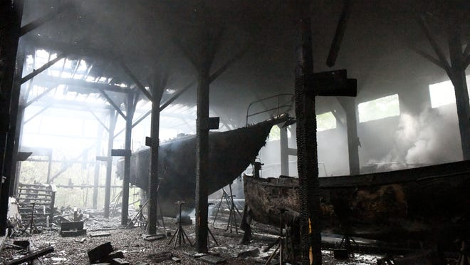 A two-alarm fire at a South Dennis boat storage barn in June 2018 left the building a charred shell and destroyed at least six boats. As a result of a federal court ruling, Karl's Boat Shop in Harwich, which owns the storage facility, may not have insurance coverage for claims filed by customers who lost boats in the blaze.
