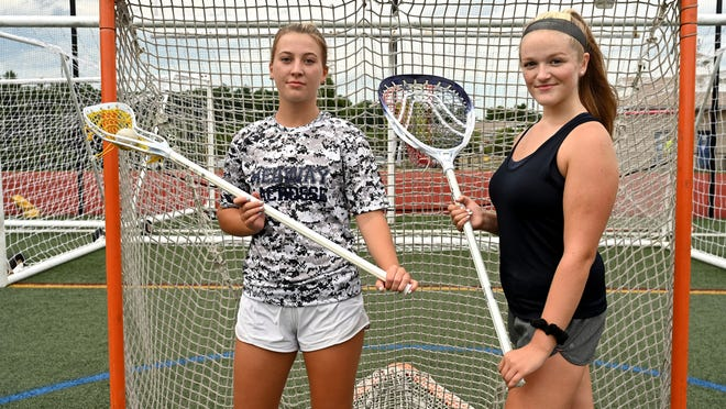 Medway High girls lacrosse goalie Sophie Brady (right) and teammate Mary Kate MacDougall have developed a bond both on and off the field.
